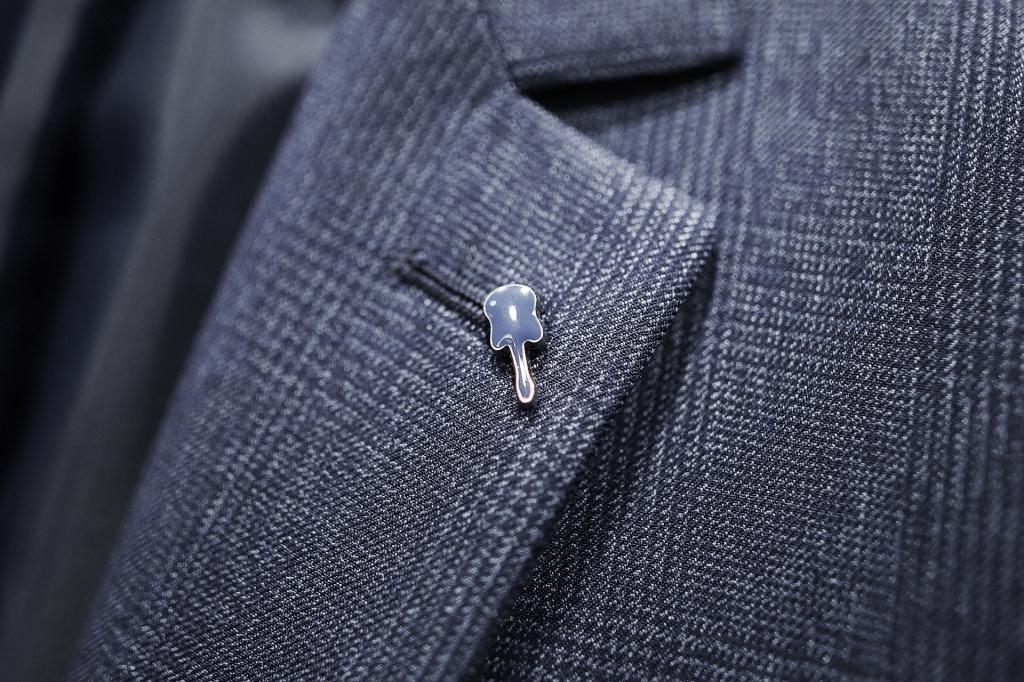 синее пальто в клетку
