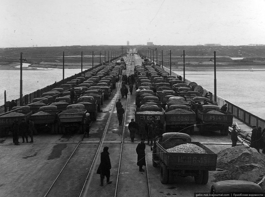 Испытания Коммунального моста Новосибирска нагруженными грузовиками, 1955 год
