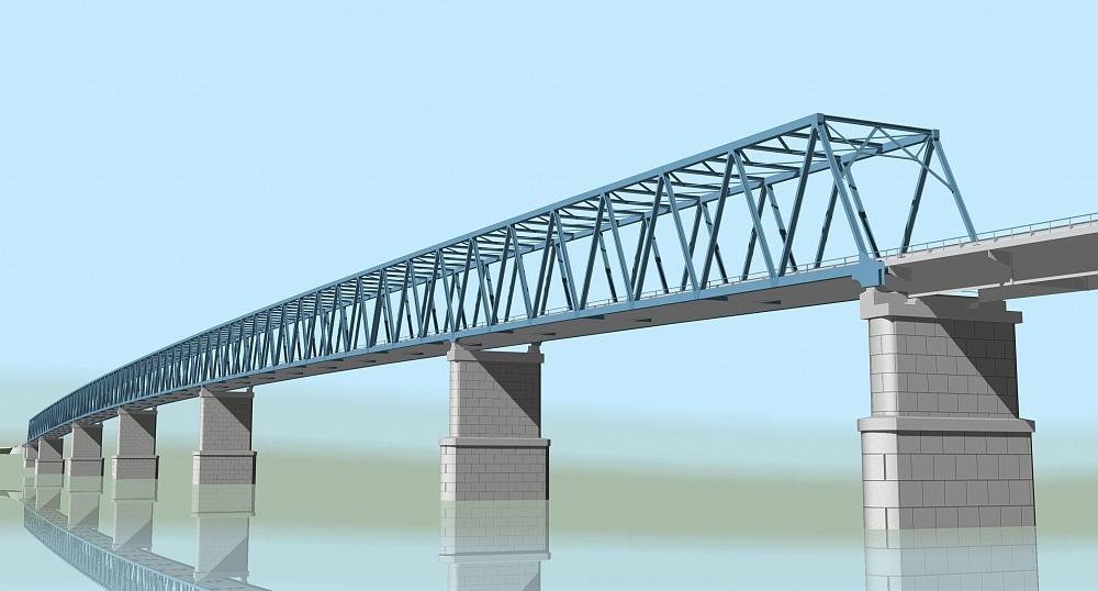 Проект Высокогорского моста на реке Енисей