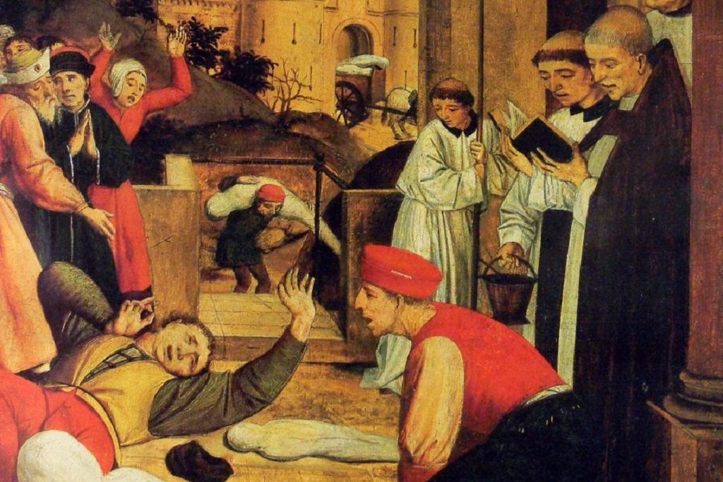 «Святой Себастьян молится за жертв Юстиниановой чумы». Картина конца XV века