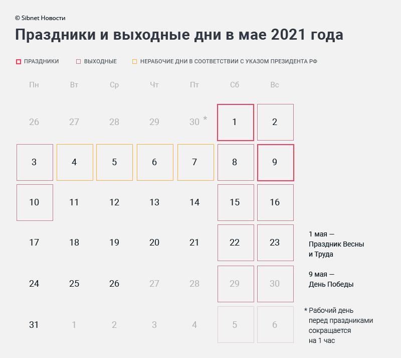 Календарь праздников и выходных дней в мае 2021