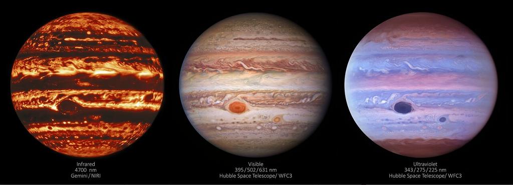 Изображения Юпитера в трех диапазонах — инфракрасном, видимом и ультрафиолетовом